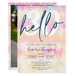 Tie dye unicorn rainbow pastel font photo hello 30 invitation
