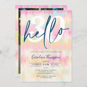 Tie dye unicorn rainbow pastel font photo hello 30 invitation