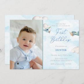 Time Flies Airplane 1st Birthday Party Boy Photo Invitation