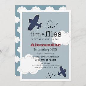 Time Flies Airplane Blue Boy 1st Birthday Invitation