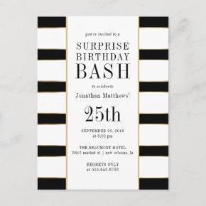 Timeless Black White & Gold Stripes Surprise Party Invitation Post