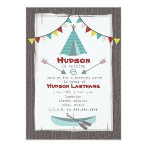 Tipi Birthday Party Invitation Red   Turquoise