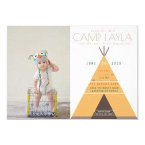 Tipi Camp | First Birthday Photo Invite