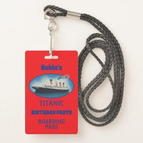 Titanic Birthday Invitation Red White Star Ship Badge
