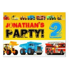 Toddler Boys 2nd Birthday Party Construction Truck Invitation