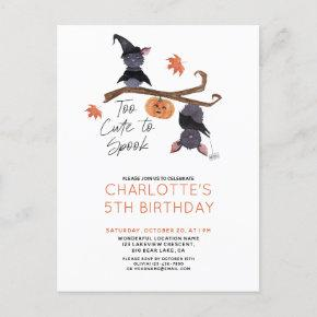 Too Cute to Spook Watercolor Bats Child's Birthday Invitation Post