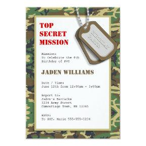 Top Secret Camouflage / Camo Birthday Party Invitation