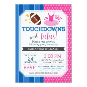 Touchdowns and Tutus Pink Blue Birthday Invitation