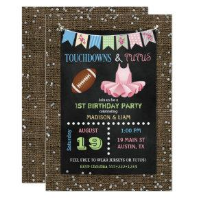 Touchdowns & Tutus Twins Birthday or Baby Shower Invitations