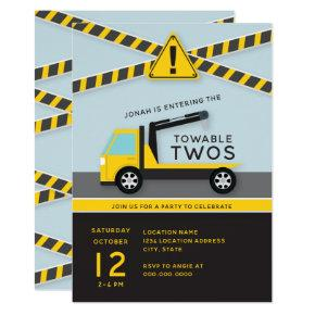 Towable Twos // Construction Second Birthday Invitation