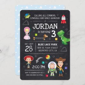 Toy Story Chalkboard Birthday Invitation