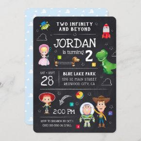 Toy Story Chalkboard - Two Infinity and Beyond Invitation