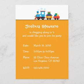 Toy Train Transport Birthday Theme Invitation