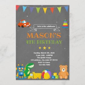 Toyland birthday theme invitation