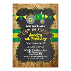 Tractor 1st Birthday Boy Party Green Yellow Invitation