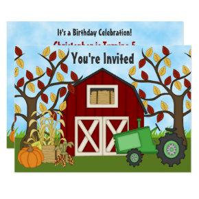 Tractor and Barn Autumn Farm Birthday Invitations