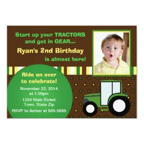 Tractor Birthday Invitation Photo Invitations