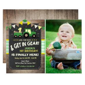 Tractor birthday Invitations Farm party Boy Green