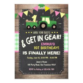 Tractor birthday Invitations Farm party Girl Pink