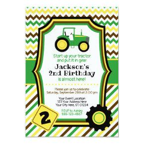 Tractor Birthday Invitations with Envelopes