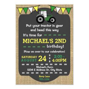 Tractor Birthday Invite, Green & Yellow Tractor Invitation
