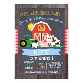 Tractor Birthday Parade Birthday Invitation