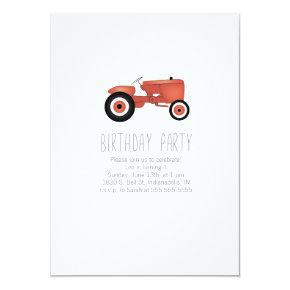 Tractor Birthday Party Invitation