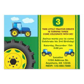 Tractor Birthday Party Invitations any age