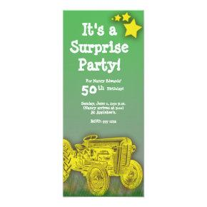 Tractor Birthday Party Invitations [enlarged age]