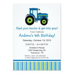 Tractor Birthday Party Invitations in blue