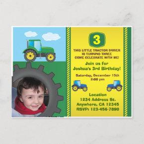 Tractor Birthday Party Invitation PostInvitations