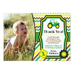 Tractor Birthday Thank You Invitations with Envelopes