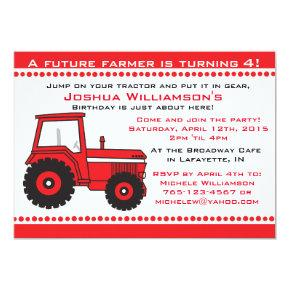 Tractor Boy / Girl Birthday Party Invitations