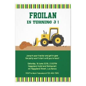 Tractor Construction Stripes Birthday Invitations