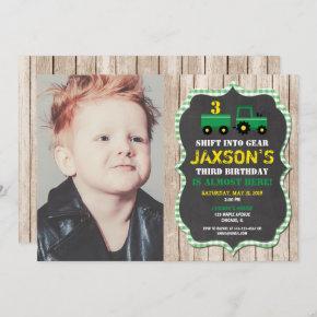 Tractor Farm birthday boy green yellow wood photo Invitation