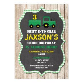 Tractor Farm birthday invitation boy wood