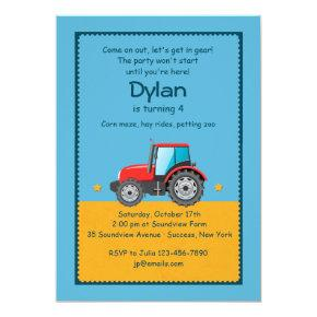 Tractor Farm Invitations