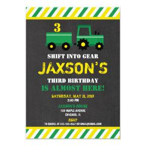 Tractor green and yellow birthday Invitations boy