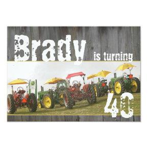 Tractor Party Invitations: Barn wood & tractors Invitations