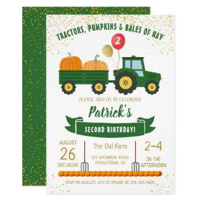 Tractor Pumpkin Fall Autumn Birthday Invitations