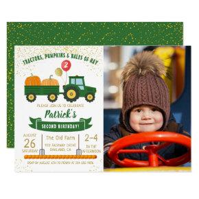 Tractor Pumpkin Fall Boy Photo Birthday Invitation