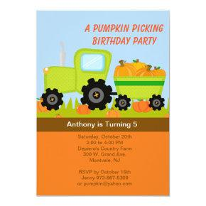 Tractor Pumpkin Picking Birthday Party Invitations