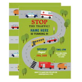 Traffic Road Driving Ambulance Police Trucks Cars Invitation