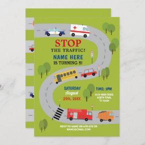 Traffic Road Driving Ambulance Police Trucks Cars Invitation