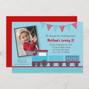 Train 1st Birthday Invitation