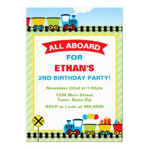 Train Birthday Invitation Photo Invitations