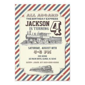 Train Birthday Invitations Vintage Invites