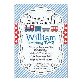 Train Engine, Baby Blue Stripes Red Polka Dots Invitation
