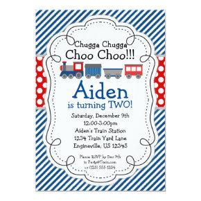 Train Engine, Blue Stripes Red Polka Dot Birthday Invitation
