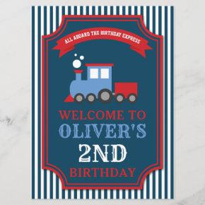 Train themed party birthday Welcome Sign Invitation